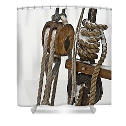 Sailing Boat Detail With Snow Shower Curtain by Heiko Koehrer-Wagner
