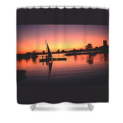 Sailing End Of The Day Backbay  Boston Shower Curtain by Tom Wurl