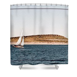 Shower Curtain featuring the photograph Sailing On Carter Lake by David Pantuso