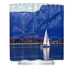 Sailing On Mondsee Lake Shower Curtain by Lauri Novak
