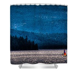 Sailing Priest Lake Shower Curtain by David Patterson