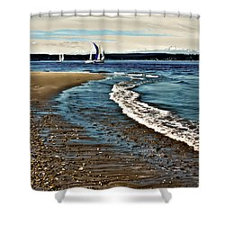 Sailing The Puget Sound Shower Curtain by David Patterson