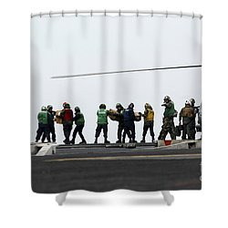 Sailors And Marines Load Supplies Onto Shower Curtain by Stocktrek Images