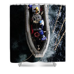 Sailors Conduct A Man Overboard Drill Shower Curtain by Stocktrek Images