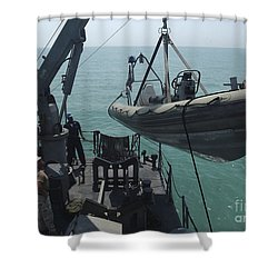 Sailors Lower A Rigid Hull Inflatable Shower Curtain by Stocktrek Images
