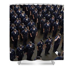 Sailors Stand At Attention During An Shower Curtain by Stocktrek Images