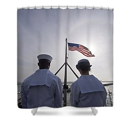 Sailors Stand By To Lower The Ensign Shower Curtain by Stocktrek Images