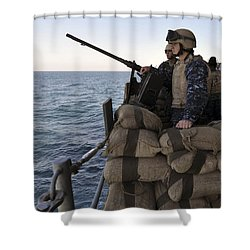 Sailors Stand Small Caliber Attack Team Shower Curtain by Stocktrek Images