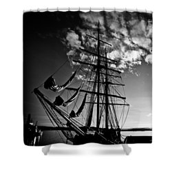 Sails In The Sunset Shower Curtain by Hakon Soreide