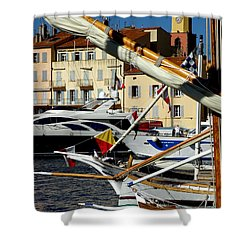 Saint Tropez Harbor Shower Curtain by Lainie Wrightson