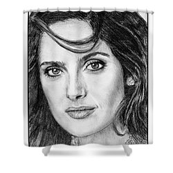 Shower Curtain featuring the drawing Salma Hayek In 2005 by J McCombie