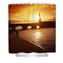 Salmon Fishing, Ridgepool, Ballina, Co Shower Curtain by The Irish Image Collection