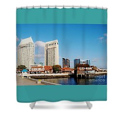 Shower Curtain featuring the photograph San Diego - Seaport Village by Jasna Gopic