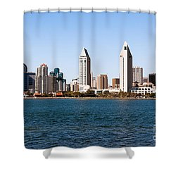 San Diego City Skyline Shower Curtain by Paul Velgos