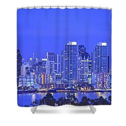 San Diego Skyline And Harbour Island Shower Curtain by Stuart Westmorland