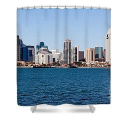 San Diego Skyline Buildings Shower Curtain by Paul Velgos