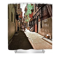 Shower Curtain featuring the photograph San Fran Chinatown Alley by Bill Owen