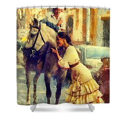 San Miguel Fair In Torremolinos Shower Curtain by Jenny Rainbow