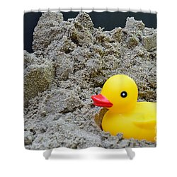 Sand Pile And Ducky Shower Curtain by Randy J Heath