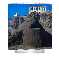 Sand Shark At Cliff House Shower Curtain by Garry Gay
