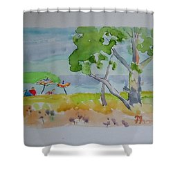 Shower Curtain featuring the painting Sandpoint Bathers by Francine Frank