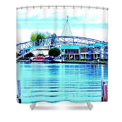 Sandy Beach Bridge Shower Curtain