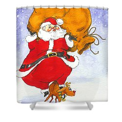 Santa And Rudolph Shower Curtain by Peggy Wilson