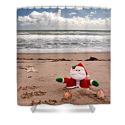 Santa At The Beach Shower Curtain