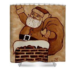 Santa Claus Is Coming Shower Curtain by Georgeta  Blanaru