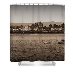 Shower Curtain featuring the photograph Santa Cruz Boardwalk Sepia by Garnett  Jaeger