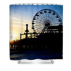 Santa Monica Pier Ferris Wheel Sunset Southern California Shower Curtain by Paul Velgos