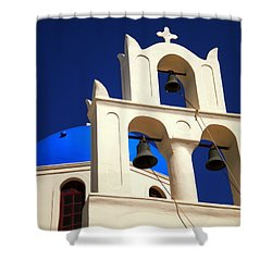 Shower Curtain featuring the photograph santorini Church Greee by Colette V Hera  Guggenheim