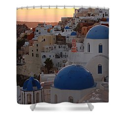 Shower Curtain featuring the photograph Santorini by Milena Boeva
