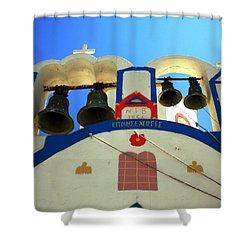 Shower Curtain featuring the photograph Santorini Thirasia Island Greece by Colette V Hera  Guggenheim