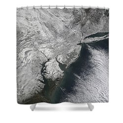 Satellite View Of A Noreaster Snow Shower Curtain by Stocktrek Images