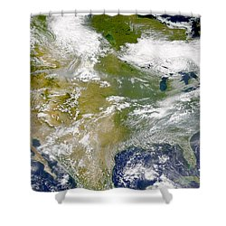 Satellite View Of North America Shower Curtain by Stocktrek Images