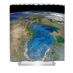 Satellite View Of Swirling Blue Shower Curtain by Stocktrek Images