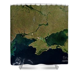 Satellite View Of The Ukraine Coast Shower Curtain by Stocktrek Images