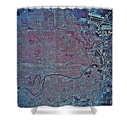 Satellite View Of Wichita, Kansas Shower Curtain by Stocktrek Images