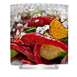 Sauteed Vegetables With Feta Cheese Art Prints Shower Curtain by Valerie Garner