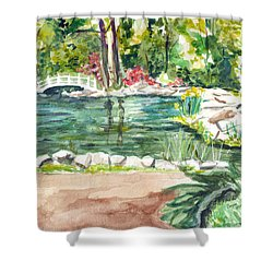 Shower Curtain featuring the painting Sayen Pond by Clara Sue Beym