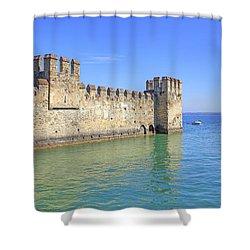 Scaliger Castle Wall Of Sirmione In Lake Garda Shower Curtain by Joana Kruse