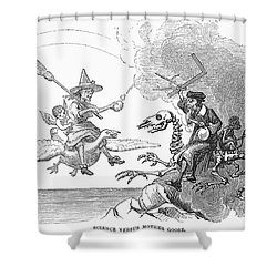 Science Vs. Mother Goose Shower Curtain by Granger