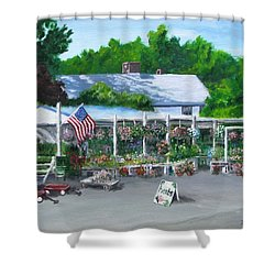 Scimone's Farm Stand Shower Curtain by Jack Skinner
