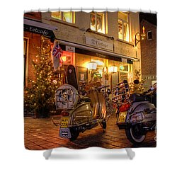 Scooters At The Bistro Shower Curtain by Rob Hawkins
