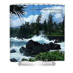 Scripture And Picture Matthew 8 27 Shower Curtain by Ken Smith