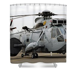 Sea King Helicopter Of The Royal Navy Shower Curtain by Luc De Jaeger