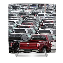 Sea Of Trucks Shower Curtain by Lisa Plymell