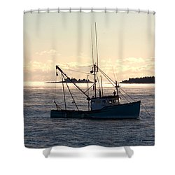 Sea-smoke On The Harbor Shower Curtain by Brent L Ander