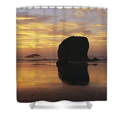 Sea Stacks Shower Curtain by Chromosohm Media Inc and Photo Researchers